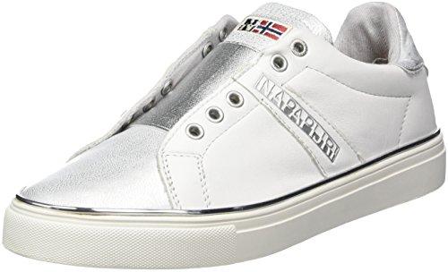 Napapijri Footwear Damen Alicia Slipper, Weiß (White/Silver), 42 EU