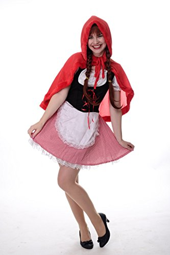 Riding Damen Hood Kostüm Red - DRESS ME UP - Kostüm Damen Damenkostüm Dirndl Haube Sexy Rotkäppchen Red Riding Hood Gr. S / M L213