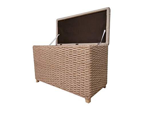 Büloo Bettbank Schlafzimmerbank Flurbank Schuhbank Sitzbank mit Aufbewahrung AufbewahrungshockerFaltbarer Aufbewahrungsbox aus natürlicher Wasserhyazinthe,mit Füße (80x40x52cm Plain Cream)