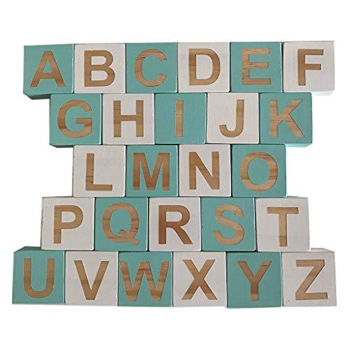 huyiko 1 Set aus Massivholz 26 Alphabet Englisch Quadrat Würfel Block Kinder Lernen Ornamente Baby Infant Foto Props Haus Handwerk (Baby-foto-blöcke)