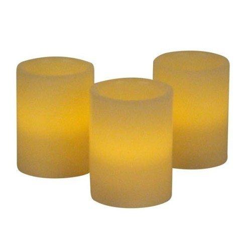 LED-Echtwachskerzen mit Flackereffekt und Ausblasfunktion Inhalt: 3 Stück Farbe: Champanger Abmessung: 7,5x10cm Duft: Vanille