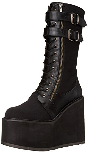 Pleaser Damen Swing 221 Stiefel, Black (Blk Canvas/Vegan Leather), 39 EU