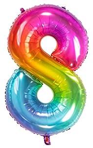 Folat Globo de lámina Yummy Gummy Rainbow Número 8-86 cm, multicolor (63248)