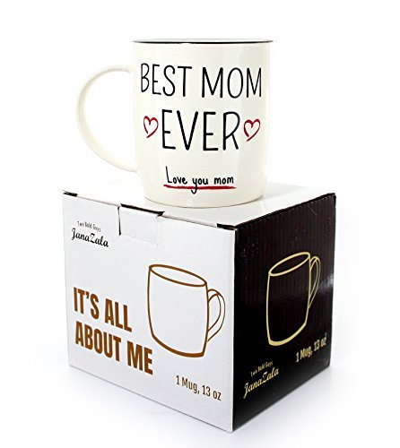 Gifffted Best Mum Ever Coffee Mug, Funny Worlds Best Mom Gifts For Mother From Daughter or Son, Mums Birthday Mugs, Anniversary, Christmas and Mothers Day Gift For Women, Her, Valentines, 13 Oz Cup