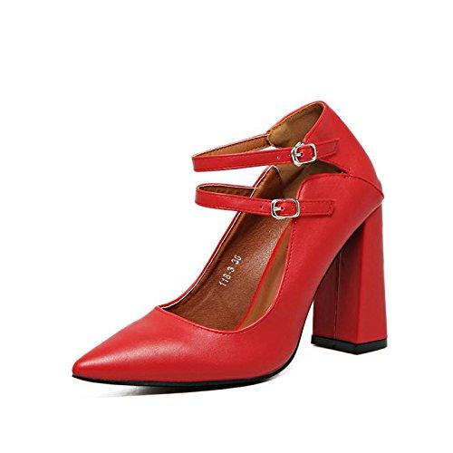 LvYuan-mxx Femmes sandales / chaussures de mariage / rétro Simple / pointu orteil double boucle bouche superficielle / talon Chunky / Bureau & Carrière / Vêtements / Casual / chaussures à talons hauts RED-35