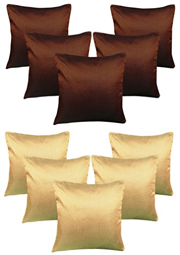 Royalina Brown and Beige Plain Dupioni Cushion Covers-Buy 5 Get 5 Free-16