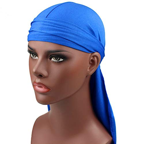 D-SYANA8 Men Milk Fiber Pure Color Hip Hop Bandana Long Tail Hat Headwear  Pirate 01a4618b2815