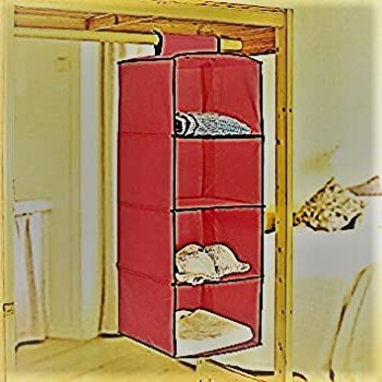Jaz Deals Non-Woven Cloth Hanging Storage Wardrobe, 4 Layers ( Red )