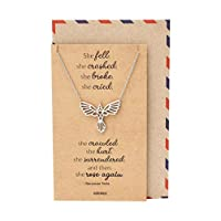 Quan Jewelry Phoenix Pendant Women Necklace, Bird Charm with Motivational Quote Card, Silver-tone - 100% Handmade