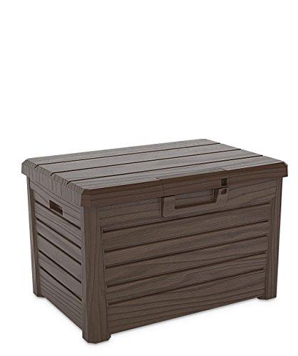 Toomax Kissenbox #Z158 braun 120 Liter Inhalt Holz Optik - mit Sitzfläche 200 kg Tragkraft - absolut wasserdicht - abschließbar -