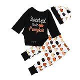 SEWORLD Baby Halloween Kleidung,Niedlich Newborn Kinder Baby Mädchen Jungen Outfits Kleidung Strampler Tops + Hosen + Hut Set(Schwarz,18 Monate)