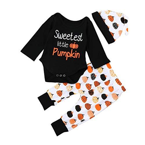 (SEWORLD Baby Halloween Kleidung,Niedlich Newborn Kinder Baby Mädchen Jungen Outfits Kleidung Strampler Tops + Hosen + Hut Set(Schwarz,12 Monate))