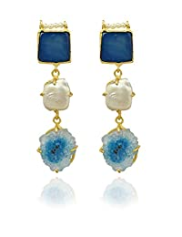 The Bohemian E110-302 Blue Three-Stoned Alloy Gold Plated Dangle & Drop Earring For Women