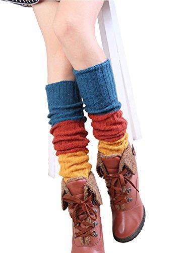 Jelinda® Damen Gestrickte Stulpen Drei-Farbe Beinlinge Winter Wolle Knit Beinwärmer Frauen Boot Abdeckung Strickstulpen Häkeln Stiefelsocken (Blau+Orange+Gelb) (Muster Stiefel Häkeln)
