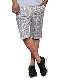 Jugend Blue 100 % Cotton Letter Printed Shorts For Men