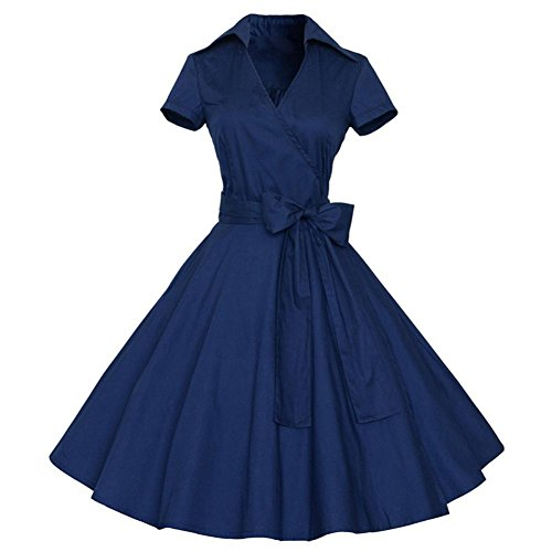 Kleid DELLIN Frauen Vintage Kleid 50 S 60 S Swing Pinup Retro Casual Hausfrau Party Ball (Marine, L) (Home-kleider Für Frauen)