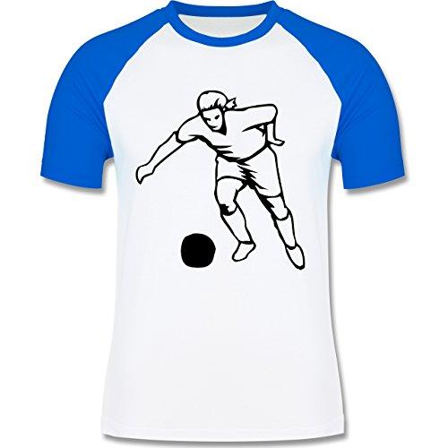 Fußball - Fußball - zweifarbiges Baseballshirt für Männer Weiß/Royalblau