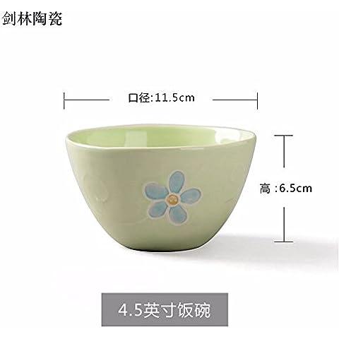Il riso ciotole di riso bocce di piccole , in ceramica per usi domestici ciotola per mangiare il riso bocce , Singola verde ,11,5*6,5 cm