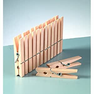 50 Stk. Wäscheklammer Holz, 72 mm, Stabil, bruchsicher, nichtrostend