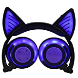 TIAN Verstellbare Universelle Kompatibilität Auf Ohrhörern LED-Kopf Montiert Leuchtend Faltbare Handy-Musik-Headset Für Kinder,Purple