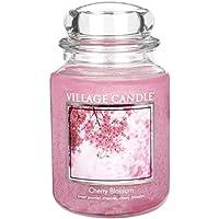 Village Candle - Candela con contenitore in vetro, grande, 17 x 10 cm, 1219 g, fragranza fiori di ciliegio, fino a 170 ore di durata