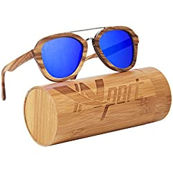 ynport crefreak auténtica madera de bambú gafas de sol, Hombres Mujeres Madera Gafas, Gafas de sol flotante ligera, hombre, azul