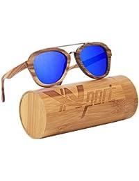 Ynport Crefreak - Lunettes de soleil - En bois de bambou véritable - Poids plume - Homme - Femme , Homme, bleu, taille unique