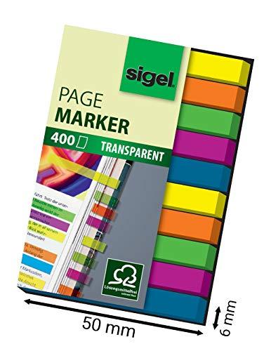 SIGEL HN617 Mini-Haftmarker Textstreifen Index, 1er Pack (400 extra schmale Streifen im Format 6 x 50 mm, 5 Farben)