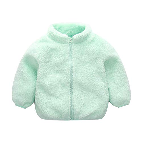 MHC~KJ Toddler Kids Baby Girls Boys Cute Zipper Solid Thick Hooded Coat Warm Outwear Mint Green Image 8