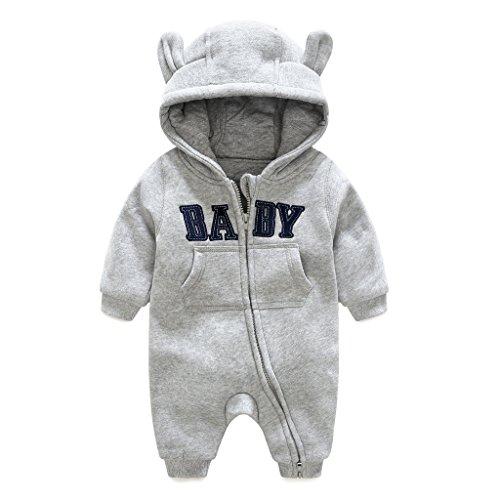 Baby Overalls mit Kapuze Spielanzug Winter Schneeanzüge Säugling Strampler Dick Outfits, Grau 0-3 Monate