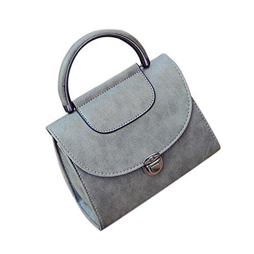 Longra Sacchetto di messaggero della borsa della borsa di modo della borsa della spalla del cuoio artificiale delle donne Grigio