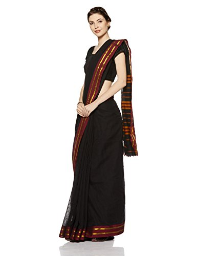 Gocoop Cotton Saree Without Blouse Piece (GCNRMCOSAA0142_Black_One Size)