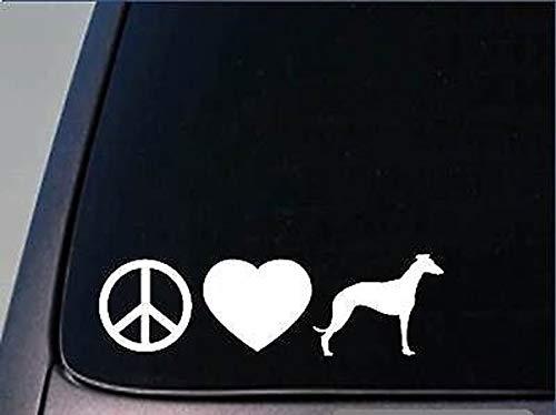 CELYCASY H102 Aufkleber Peace Love Whippet, 20,3 cm, Vinyl, Greyhound Rescue -