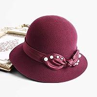 Sombrero - Gorro de Lana Salvaje de Moda Abalorios Sombrero de Copa Sombrero de Fieltro británico Retro (Negro, Rojo 2 Colores) (Color : Red)