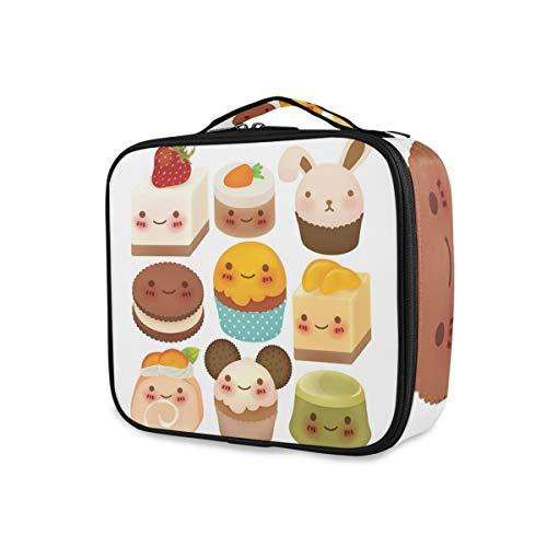 SUGARHE Chubby Kawaii Backwaren mit Smileys auf ihren Gesichtern Cute Desserts Girly Bunny Ears,Kosmetik Reise Kulturbeutel Täschchen mit Reißverschluss