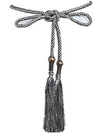 Damen Gürtel Schlaufe Schwarz  geflochten Accessoires Tassel Seil C-8853