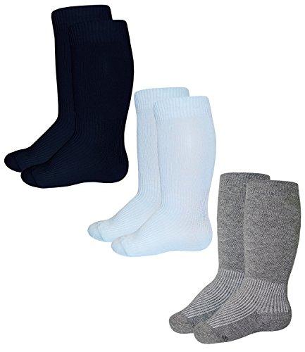 Ewers 3er Pack Babykniestrümpfe Jungenstrümpfe Sparpack Kniestrümpfe Socken Strümpfe Babys (EW-64215-S17-BJ0-129-180-2400-19/22) in Marine-Bleu-Grau, Größe 19/22 inkl. EveryKid-Fashionguide