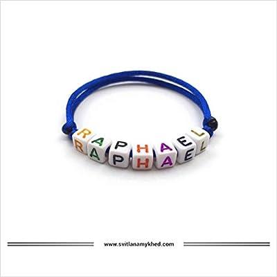 Bracelet personnalisé avec prénom RAPHAEL (réversible) homme, femme, enfant, bébé, nouveau,né.