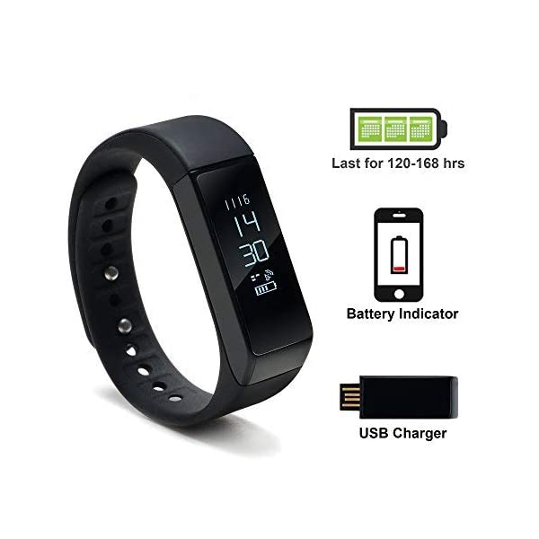 WADEO Fitness Tracker, Pulsera de Actividad Smart Bluetooth Pulsera podómetro Smart Bracelet Sleep Monitor, Reloj de Actividad Impermeable con Banda de reemplazo para Android y iOS (Negro-2) 5