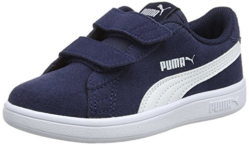 Puma Puma Smash v2 SD V PS, Unisex-Kinder Sneakers, Blau (Peacoat-Puma White), 34 EU (1.5 UK)