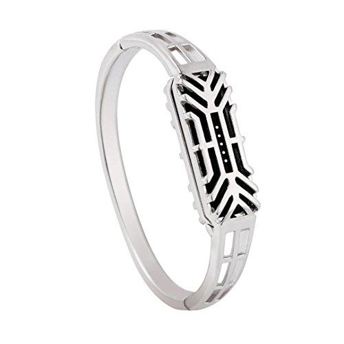 Allywit Fashion Edelstahl Zubehör Armreif Armbanduhr Band Wrist Strap für Fitbit Flex 2, Silber