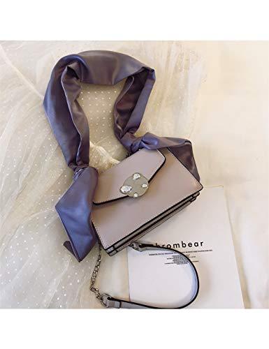 ZLJSS Ketten Schal Damen Umhängetasche Mode PU Leder Umhängetaschen Designer kleine Klappe Geldbörsen Messenger Bags für Frauen , Grau (Messenger Klappe)