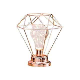 Diamond Iron Table Lamp, Iron Bulb Night Light Nordic Bedside Table Lamp with Battery Operated Decorative Lighting for Bedroom, Living Room, Bar, Hotel (Rose Gold)