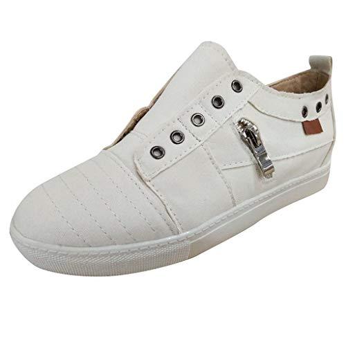 EUCoo Frauen Segeltuchschuhe Einzelne Schuhe GrößE Flache Untere ReißVerschluss Keine Schuhe Kleine WeißE Schuhe Faule Schuhe(Weiß, 41)