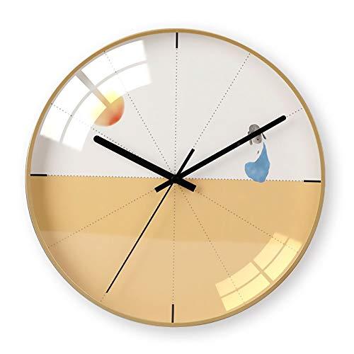 y Hübsch Einfache chaoyang gelb Muster Ultra-leise Schlafzimmer Wohnzimmer abs Material wanduhr/Uhr Mode ()