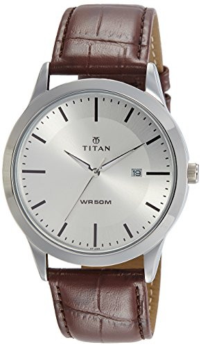 Titan Analog Silver Dial Men's Watch-1584SL03
