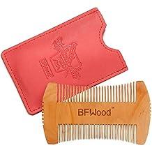 Peine para Barba – Peine de Bolsillo de Madera Estilo Hacha para Barba y Bigote con