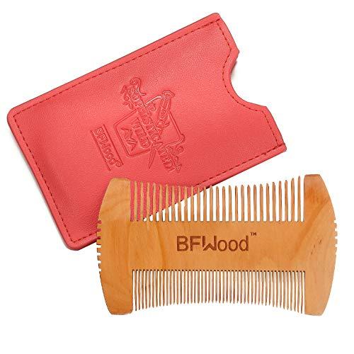 Bartkamm - Hatchet Style Bart Schnurrbart Taschen-Kamm aus Holz mit Ledertasche (ROT) von BFWood