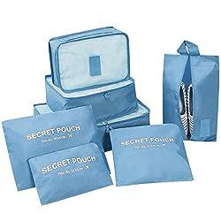 DoGeek Packing Cubes Koffer Organizer Kleidertaschen 7-teilig Verpackungswürfel Gepäck Aufbewahrung Taschen 3 Koffer Organizer+3 Packwürfel +1 Schuhbeutel