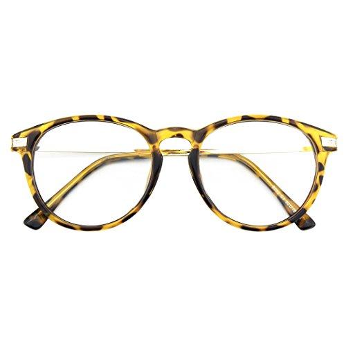 CN92 Klassische Nerdbrille rund Keyhole 40er 50er Jahre Pantobrille Vintage Look clear lens,Mehrfarbig B